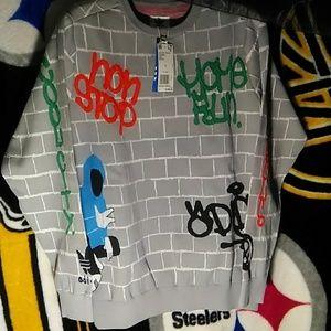 Adidas Knit Top Sweatshirt with Urban Graffiti